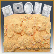 Trio of Puppies - Bar- Detail of High Relief Sculpture - Silicone Soap/sugar/fondant/chocolate/marzipan 2d Mould