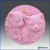 Pair of Kittens - Round- Detail of High Relief Sculpture - Silicone Soap/polymer/clay/cold Porcelain Mould