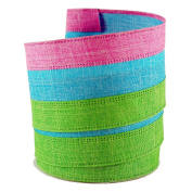 Easter Coloured Pink,Green and Blue Linen Wired Ribbon #100cm - 6.4cm x 10 yards