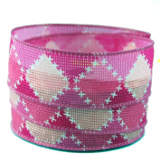 Cross Stitch Pattern Pink and White Linen Wired Ribbon #23cm - 3.8cm x 10 yards