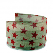 Star Print Linen Wired Ribbon, Red #23cm - 3.8cm x 10yards