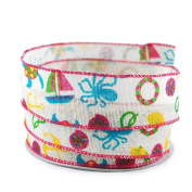 Beach Themed Linen Wired Ribbon #9 3.8cm x 10 yards