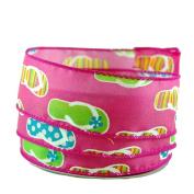 Glitter Flip Flop Print Pink Satin Wired Ribbon #23cm - 3.8cm x 10yards