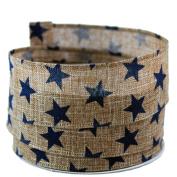 Star Print Linen Wired Ribbon, Blue #23cm - 3.8cm x 10yards