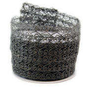 Open Weave Mesh Grey Wired Ribbon #100cm - 6.4cm x 10yards