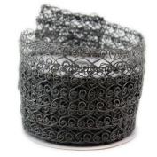 Open Weave Mesh Grey Wired Ribbon #100cm - 6.4cm x 10yards