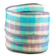 Plaid Print Purple and Blue Satin Wired Ribbon #100cm - 6.4cm x 10 yards