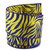 Tiger Print Purple and Yellow Satin Wired Ribbon #100cm - 6.4cm x 10 yards