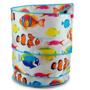Tropical Fish Satin Wired Ribbon #100cm - 6.4cm x 10yards