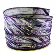 Abstract Brush Stroke Purple Linen Wired Ribbon #23cm - 3.8cm x 10yards