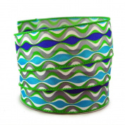 Abstract Waves Green,Grey, and Purple Satin Wired Ribbon #23cm - 3.8cm x 10yards