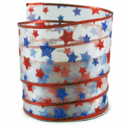 Glitter Stars Print Red and Blue Sheer Wired Ribbon #100cm - 6.4cm x 10 yards