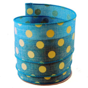 Polka Dots Blue and White Linen Wired Ribbon #100cm - 6.4cm x 10yards