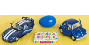 Veil Entertainment Viper and VW Bug Car 12pc Easter Basket Blue/White