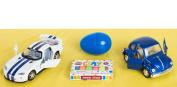 Veil Entertainment Viper and VW Bug Car 12pc Easter Basket White/Blue