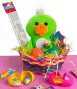 Veil Entertainment Easter Plush Duck 13pc Easter Basket Green