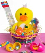 Veil Entertainment Easter Plush Duck 13pc Easter Basket Yellow