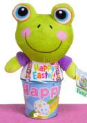Veil Entertainment Easter Plush Frog Pail 2pc Easter Basket Green