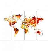Design Art Red and Yellow - Map Canvas Art #PT2713