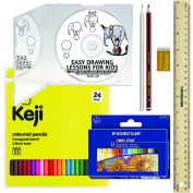 Learn to Draw Kit Set - Easy Drawing Lessons for Kids - Learn How to Draw Step by Step - E.G. Lutz - Contains CD tutorial, 24 coloured pencils, 12 oil pastels, 2 graphite pencils, 30cm ruler, eraser