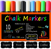 Chalk Markers Mega 10 Best Quality Colours Including 2 White and 32 Label Stickers, Fun for Kids and Adults, Interior Design, Restaurant Chalkboards, Weddings, Party Decoration