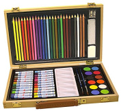 Art Set For Youngsters Has 68 Pieces In a Hinged Wood Box