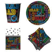Veil Entertainment Graduation Basic Tableware 57pc Party Pack Black/Multicoloured