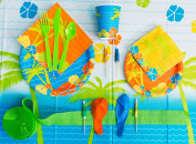 Veil Entertainment Hawaiian Luau Tableware Decorations 126pc Party Pack