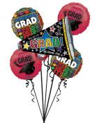 "6PC ""GRAD!"" Megaphone Graduation Balloon Boquet Pack - Burgundy"