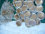 20 Silver Flat Bottle Caps With Rings,20 Circle Epoxy Stickers and 20 50cm Ball Chain Necklaces