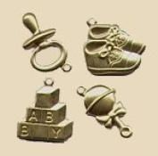 Brass Charms Set - OH BABY - Set of 4