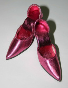 72mm Easy to Wear Doll Shoes fit American Model - Metallic Drk Pink