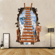 Dopin 3D Breaking Wall Landscape Sky Beach Castle Street Wallsticker Home Decor Kids Bedroom 60x90cm