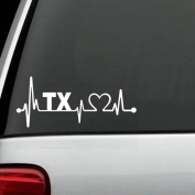 K1067 Texas State Heartbeat Decal Sticker