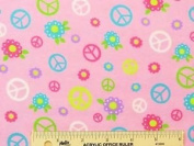 1/2 Yard - Multi Coloured Peace Signs on Pink Flannel Fabric (Great for Quilting, Sewing, Craft Projects, Curtains, Pillows, & More) 1/2 Yard x 110cm Wide
