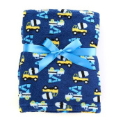 Baby Gear Plush Velboa Ultra Soft Baby Boys Blanket 30 x 40, Navy Trucks