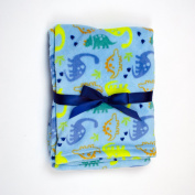 Baby Gear Plush Velboa Ultra Soft Baby Boys Blanket 30 x 40, Blue Dino Dudes