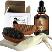 Beard Brush, Comb, Oil-Handmade Kit Made in USA Beard Care 100% Bamboo Natural Boar Bristle Anti-Static No Snag Unscented Leave-In Conditioner Helps Itchiness Dandruff Jojoba Argan Oil