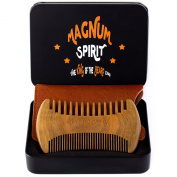 Beard Comb - Anti-Static & Natural Smell Sandalwood - Handmade Fine & Wide Tooth - No Tangle No Snag - with 100% Leather Carrying Pouch & Gift Box in Black Metal - Unique Design - Also Hair/Moustache