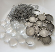 20 Pack Round Antique Silver Glass Photo Pendants w/ Ball Chains