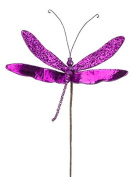 25cm Princess Garden Sparkling Violet Dragonfly Beaded Floral Craft Pick