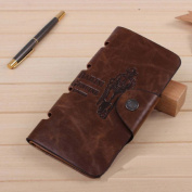 WensLTD Hotsale! Mens Leather Long Wallet Pockets ID Card Clutch Bifold Purse Brown