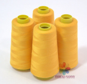 4 Large Cones (3000 yards each) of Polyester threads for Sewing Quilting Serger GOLD Colour from ThreadNanny