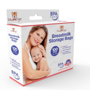 100 Breastmilk Storage Bags - 6oz / 180ml Pre-Sterilised & BPA-FREE Bags, Designed for Even and Faster Thawing with Leak Proof Mechanism by Bow-Tiger