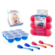 Baby Food Storage and Weaning Containers Set - 4 Heat-Sensing Spoons & KiddieBobs Recipe EBook