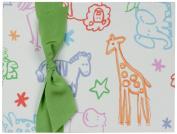 Tessera Baby Books Memory Book Animals with Green Grosgrain Ribbon, Cream