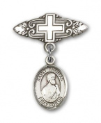 ReligiousObsession's Sterling Silver Baby Badge with St. Thomas the Apostle Charm and Badge Pin with Cross