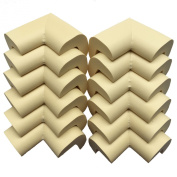AWESOME® 12 PCS Cushiony Table Furniture Childproofing Corner Guards Protectors Baby Safety Extra Dense Non Toxic Edge & Corner Guard Bumpers   Cream