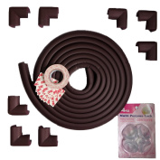 PurryRing 15 Feet Edge Protector & 8 Corner Guards, Softer and More Flexible for Better Child Safety Home Protectors (Brown). Receive A Free Gift - 4 PCS Multi Purpose Lock & 3M Double Sided Tape.