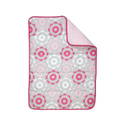 Happy Chic Baby by Jonathan Adler Heather Floral Baby Girl Reversible Quilt Comforter Blanket Pink Grey